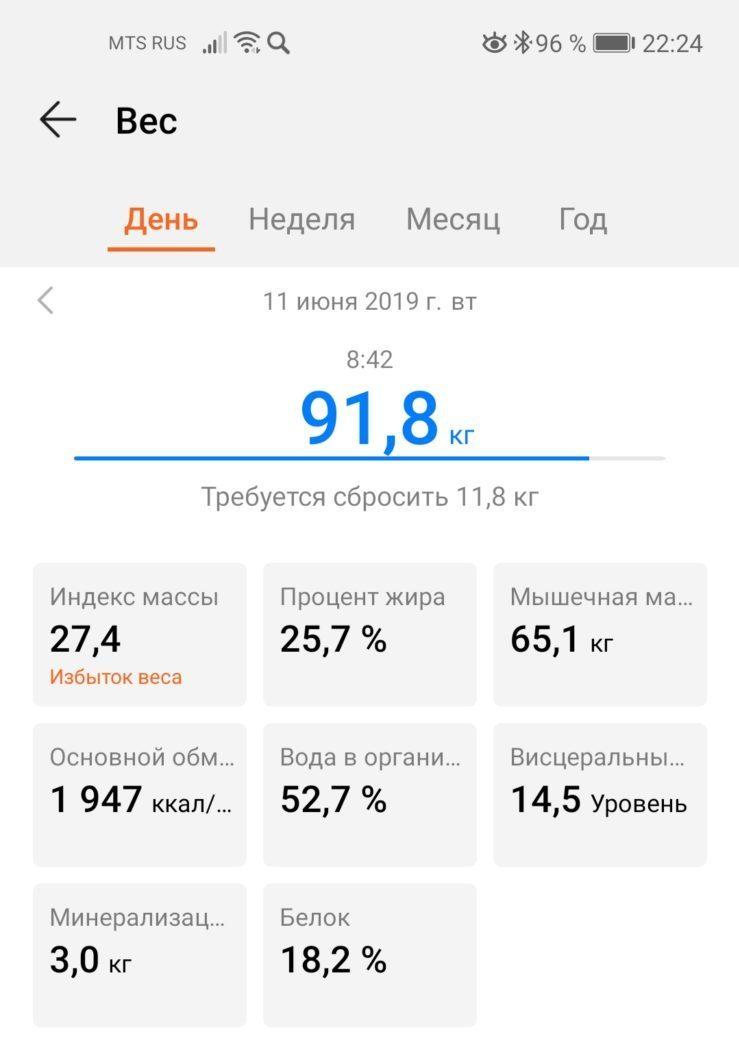 скриншот показателей умных весов